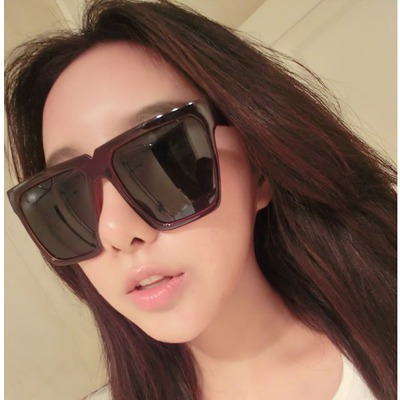 Down Brown round frame simple design resin Women Sunglasses
