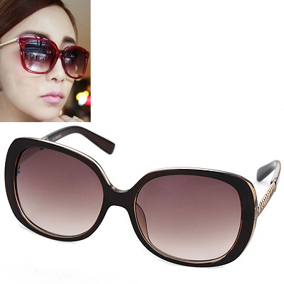 Nameplate dark brown big frame simple design resin Women Sunglasses