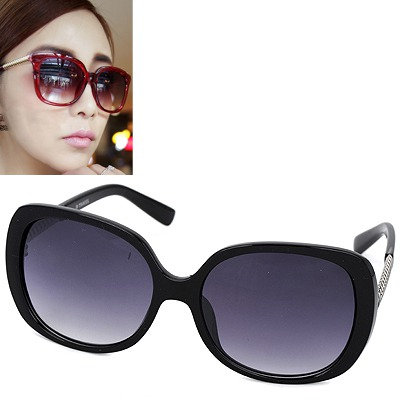 Wrap black silver thread legs simple design resin Women Sunglasses