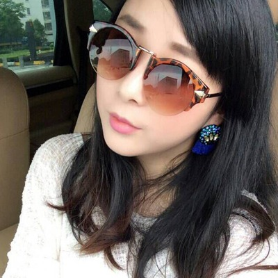 Venetian leopard color arrow pattern legs half frame design resin Women Sunglasses