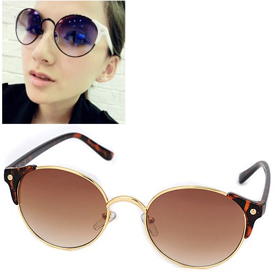 Political leopard color round Frame Uv Protection Design resin Women Sunglasses