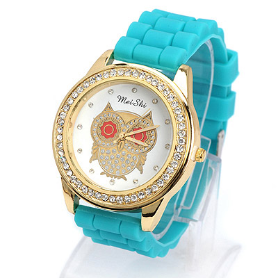 Energie green diamond decorated owl pattern design silicone Ladies Watches