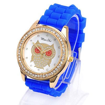 Catholic sapphire blue diamond decorated owl pattern design silicone Ladies Watches