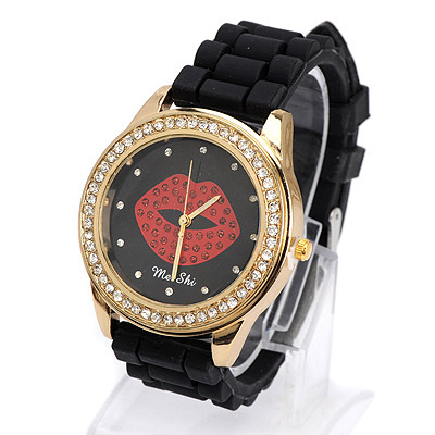 Luxurious black diamond decorated lips pattern design silicone Ladies Watches