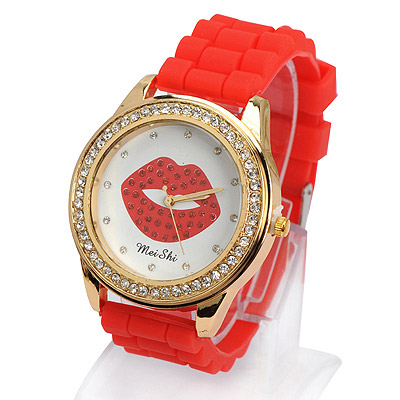 Easter red diamond decorated lips pattern design silicone Ladies Watches