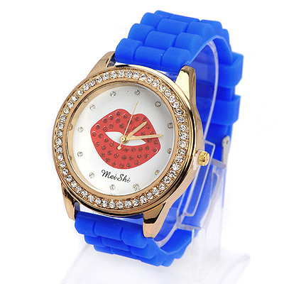 Display blue diamond decorated lips pattern design silicone Ladies Watches