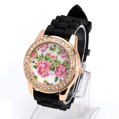Used black diamond decorated rose pattern design silicone Ladies Watches