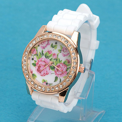 Circle white diamond decorated rose pattern design silicone Ladies Watches