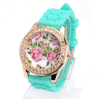 Preppy green diamond decorated rose pattern design silicone Ladies Watches