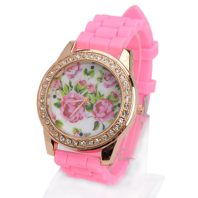 Highwaist pink diamond decorated rose pattern design silicone Ladies Watches