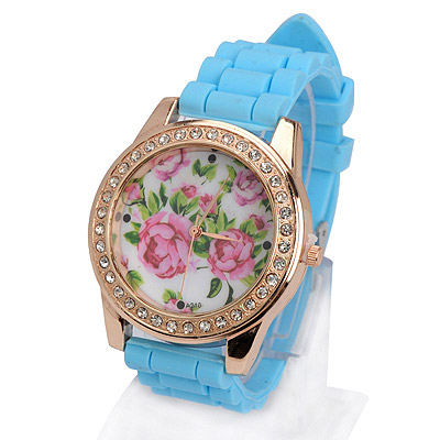 Luxury light blue diamond decorated rose pattern design silicone Ladies Watches