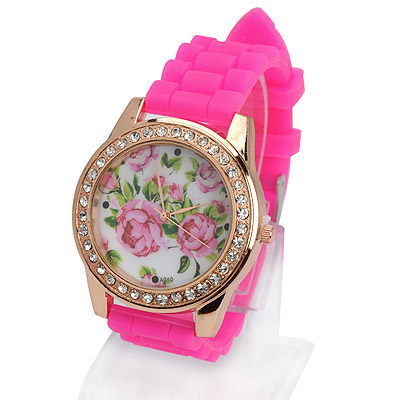 22K plum red diamond decorated rose pattern design silicone Ladies Watches