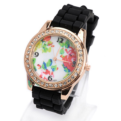 Genuine black diamond decorated flower pattern design silicone Ladies Watches