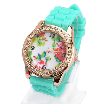 Coast green diamond decorated flower pattern design silicone Ladies Watches