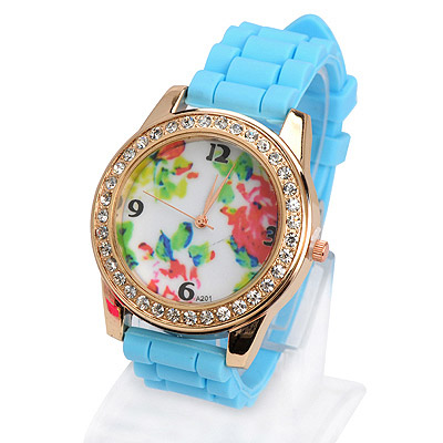 Handcrafte light blue diamond decorated flower pattern design silicone Ladies Watches