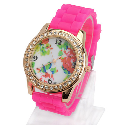 Square plum red diamond decorated flower pattern design silicone Ladies Watches