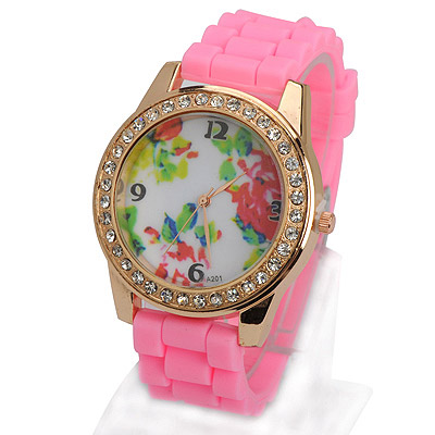 Royal pink diamond decorated flower pattern design silicone Ladies Watches