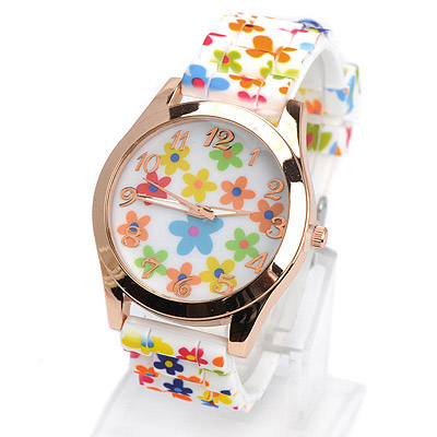 Beaded multicolor cartoon flower pattern simple design silicone Ladies Watches