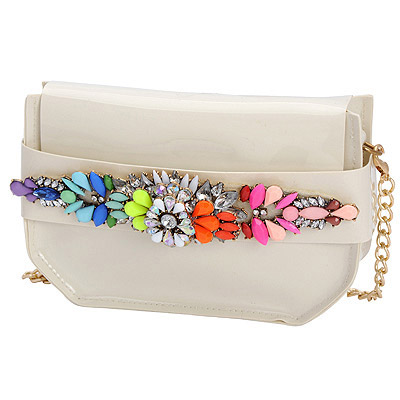 Revealing beige gemstone decorated simple design PVC Messenger bags