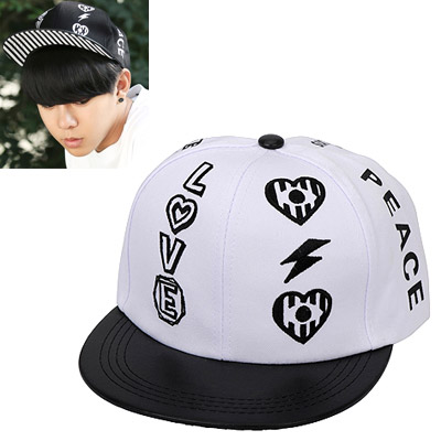 Huge white embroidery letters LOVE decorated simple design canvas Baseball Caps