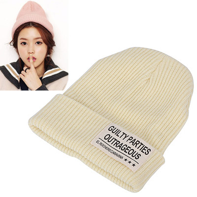 Awesome beige letters decorated hedging design wool Knitting Wool Hats