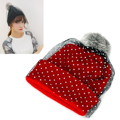Hemming red small dots decorated lace design wool Knitting Wool Hats