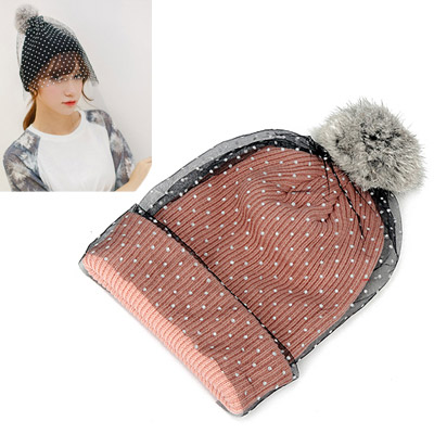 Maturnity light pink small dots decorated lace design wool Knitting Wool Hats