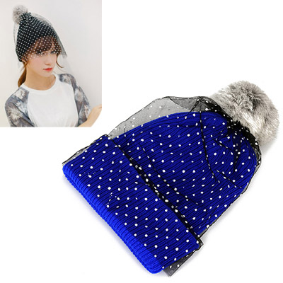 Fit dark blue small dots decorated lace design wool Knitting Wool Hats