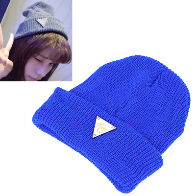 Bohemian blue metal triangle shape decorated hedging design wool Knitting Wool Hats