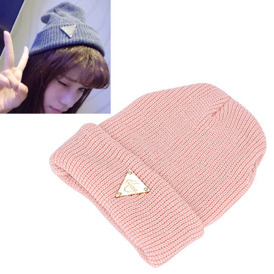 Attractive pink metal triangle shape decorated hedging design wool Knitting Wool Hats