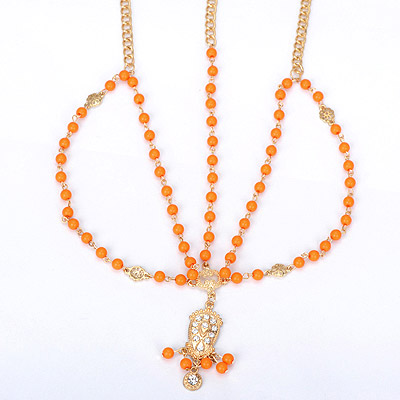 Promotiona orange beads decorated simple design alloy Body Chains