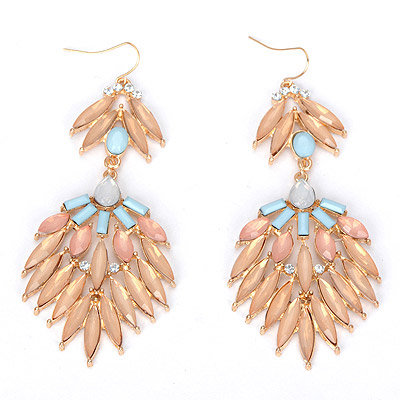 Outlook lotus red gemstone decorated leaf shape design alloy Korean Earrings