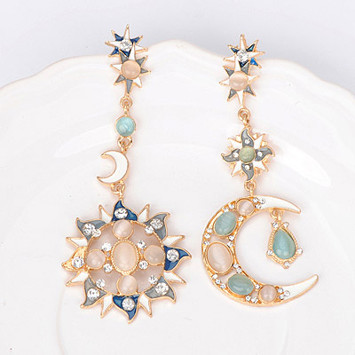 Moving multicolor sun moon shape asymmetry design alloy Stud Earrings