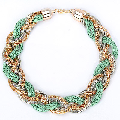 Tapered green metal decorated hollow out weave design alloy Bib Necklaces