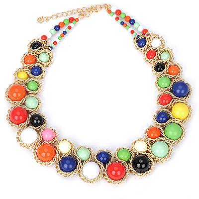 Madewell multicolor beads decorated double row design alloy Bib Necklaces