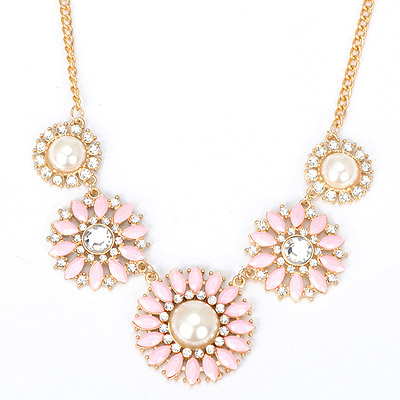 Lovely pink diamond decorated flower design alloy Bib Necklaces
