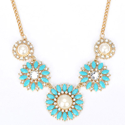 Faddish blue diamond decorated flower design alloy Bib Necklaces