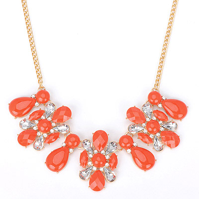 Beaded red diamond decorated waterdrop shape design alloy Bib Necklaces