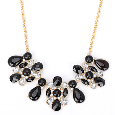 Timeless black diamond decorated waterdrop shape design alloy Bib Necklaces