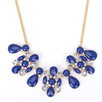 Lucky blue diamond decorated waterdrop shape design alloy Bib Necklaces