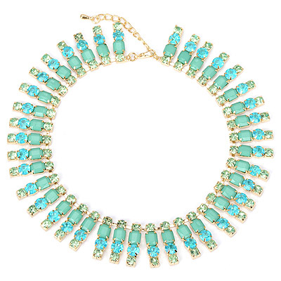 Rave green diamond decorated multi-level design alloy Bib Necklaces