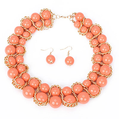 Exquisite orange beads decorated double row design alloy Bib Necklaces