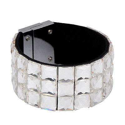 Corporate white diamond decorated square shape design alloy Korean Fashion Bracelet