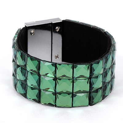 Monogramme green diamond decorated square shape design alloy Korean Fashion Bracelet
