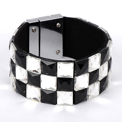 Gorgeous black & white diamond decorated square shape design alloy Korean Fashion Bracelet
