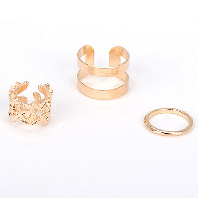 Organic gold color leaf decorated hollow out design alloy Korean Rings