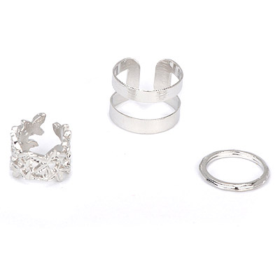 Best silver color leaf decorated hollow out design alloy Korean Rings