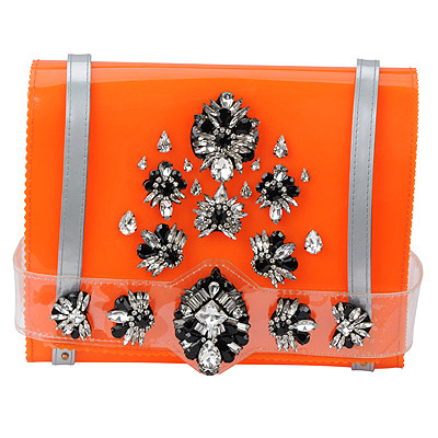 Vibrating orange gemstone decorated simple design PVC Messenger bags