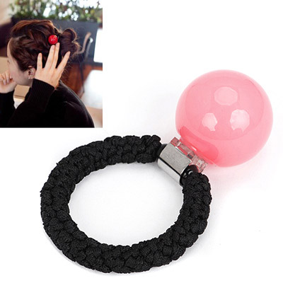 Minted pink small ball decorated simple design rubber band Hair band hair hoop