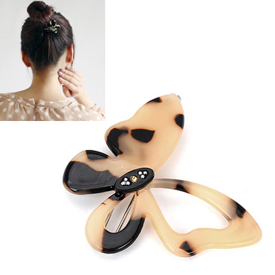 Pagan leopard color diamond decorated butterfly shape design alloy Hair clip hair claw